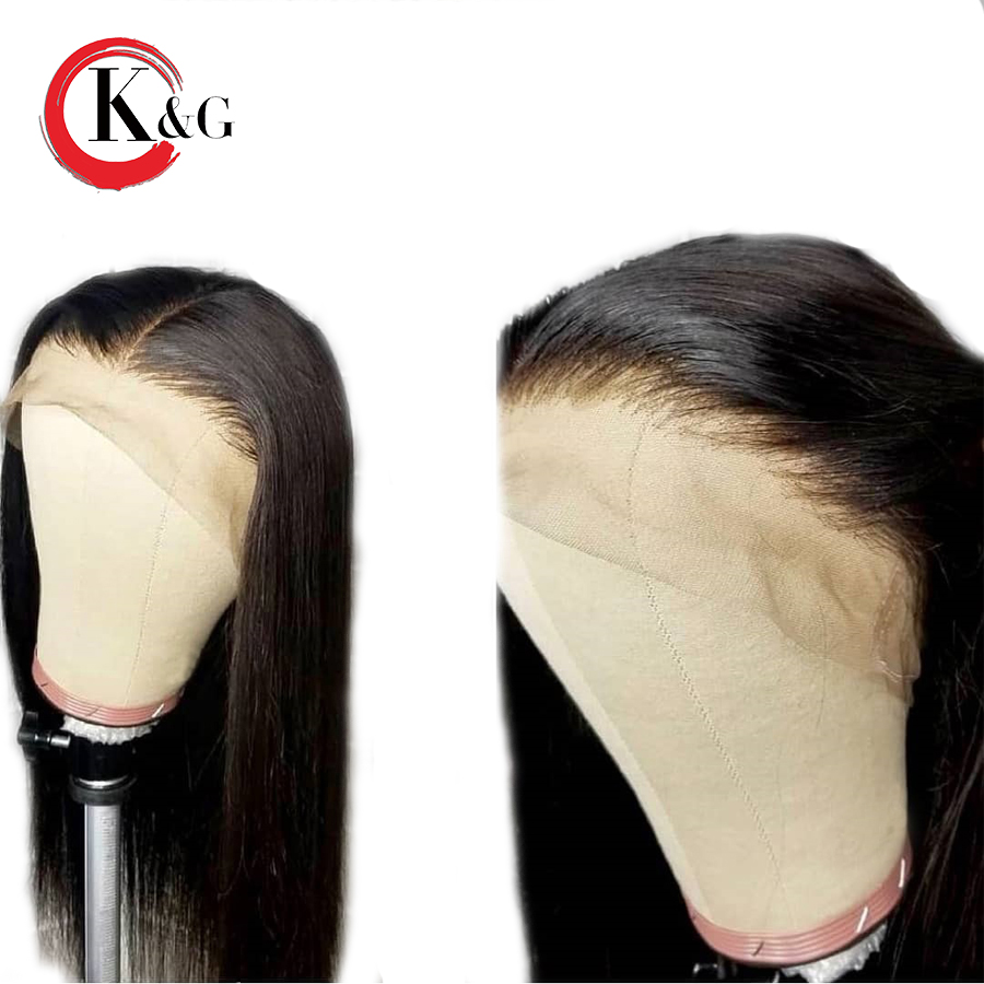 KUNGANG Lace Front Human Hair Wig Free Part Straight Brazilian Remy Human Hair Wigs Bleached Knots