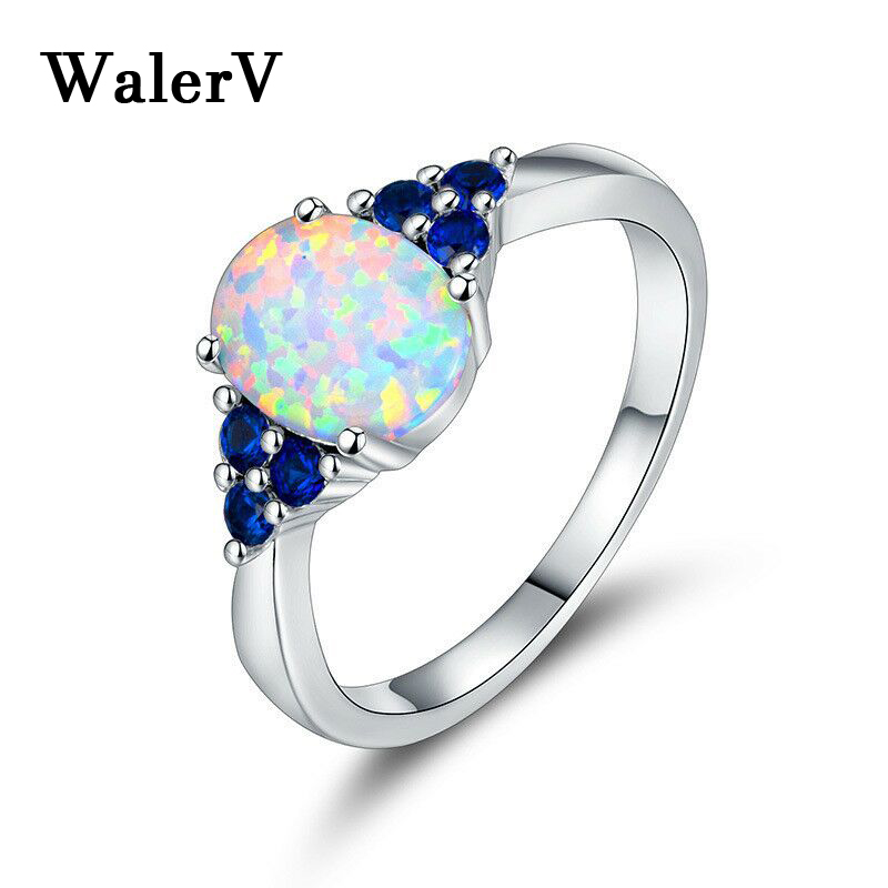 WalerV 925 Silver Ring Fashion Charm for Womens Lady Rings Opal Oval Shape Three Blue Crystal Jewelry Ring Engagement Finger