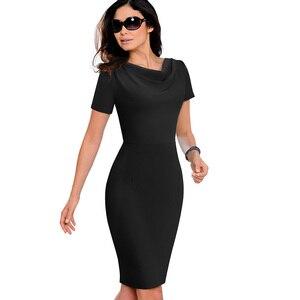 Image 4 - נחמד לנצח נשים בציר אלגנטי טהור צבע vestidos עסקים Bodycon נדן משרד עבודה לפרוע נשי שמלת B523