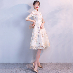 Image 4 - Vintage Chinese Style Wedding Dress Retro Toast Clothing Mini Gown Marriage Cheongsam Qipao Party Evening Dress Vestidos Clothes