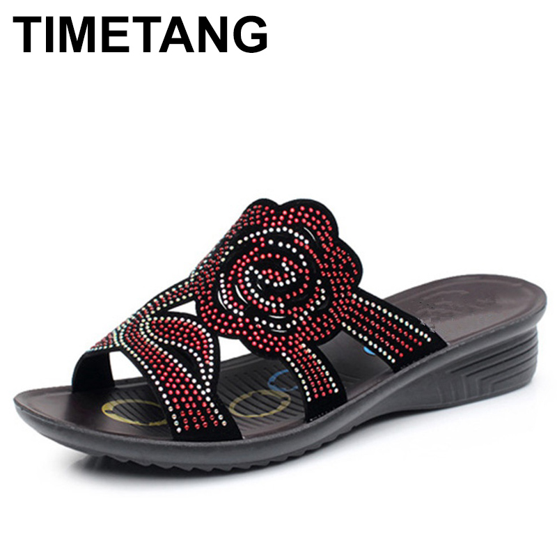 TIMETANG Summer crystal fashion woman slippers female casual slope thick bottom slip mother slippers ladies soft bottom slippers 2018 summer ladies thick bottom drag slope beach shoes for women casual non slip flat bottomed slippers female slides shoes