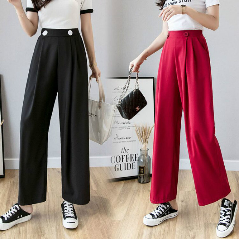 Womem   wide     leg     pants   fashion female elegant black loose chiffon straight   pant   casual trousers lady pantalon 2019 summer autumn