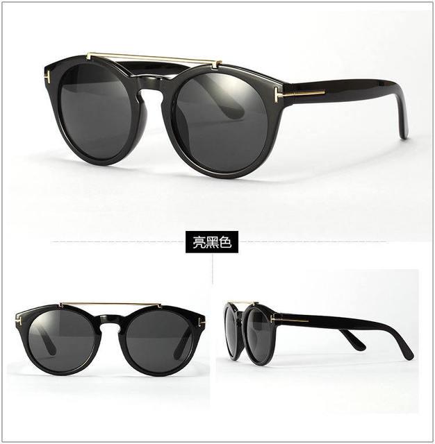 Gafas de sol redondas Vintage 2015 nuevo Unisex hombre mujer moda marcos de Metal de doble