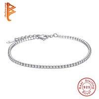 BELAWANG AAA Elegant Square CZ Tennis Charm Bracelets Bangles For Women 925 Sterling Silver Princess Cut