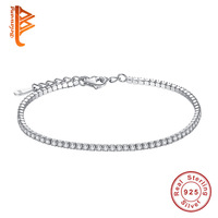 BELAWANG AAA Elegant Square CZ Tennis Charm Bracelets Bangles For Women 925 Sterling Silver Princess Cut