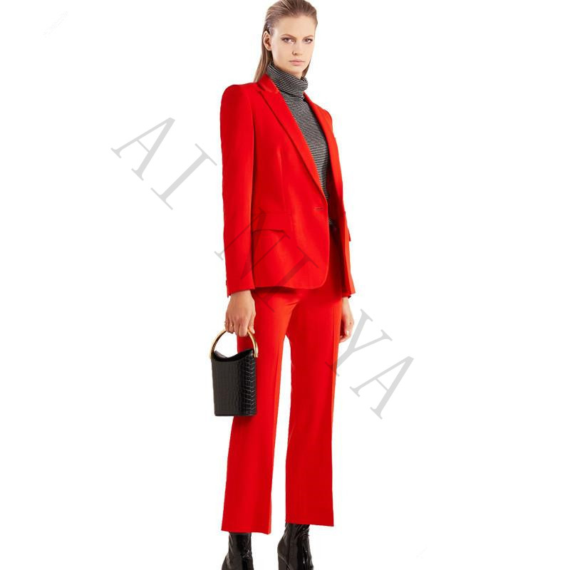 New Elegant Pants Suits Blazer Two Piece Set Jacket & Pant Womens Business Suits Slim Fit Female Office Uniform Custom