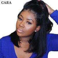 250 Плотность Боб Синтетические волосы на кружеве короткие парики человеческих волос предварительно сорвал для Для женщин бразильский Прям