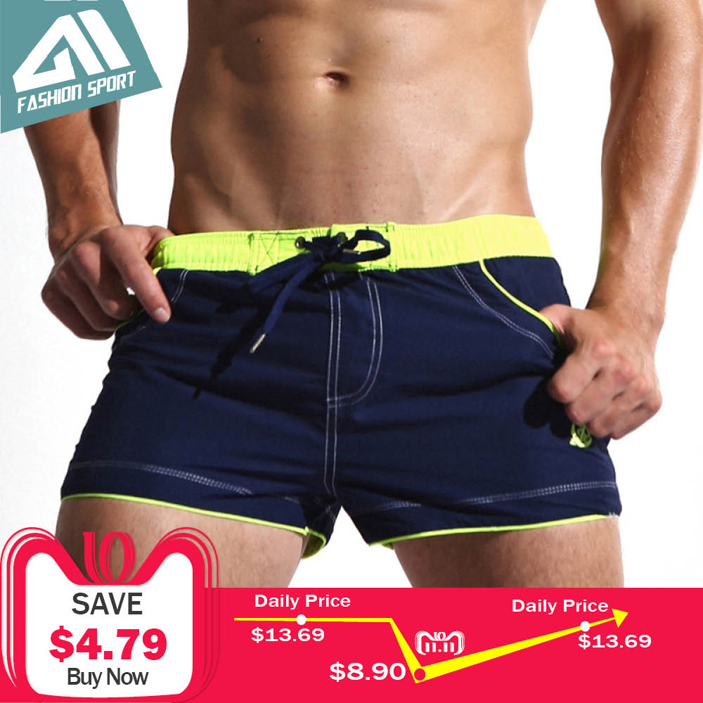 New Men's Swim Shorts Quick Dry Beach Shorts Lining Liner Sport Summer Men's Board Shorts Surf Swimwear Sea Shorts Male AC429 drawstring skinny sport shorts