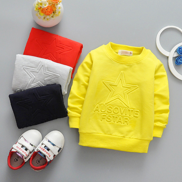 Cotton long sleeved T-shirt cartoon star child