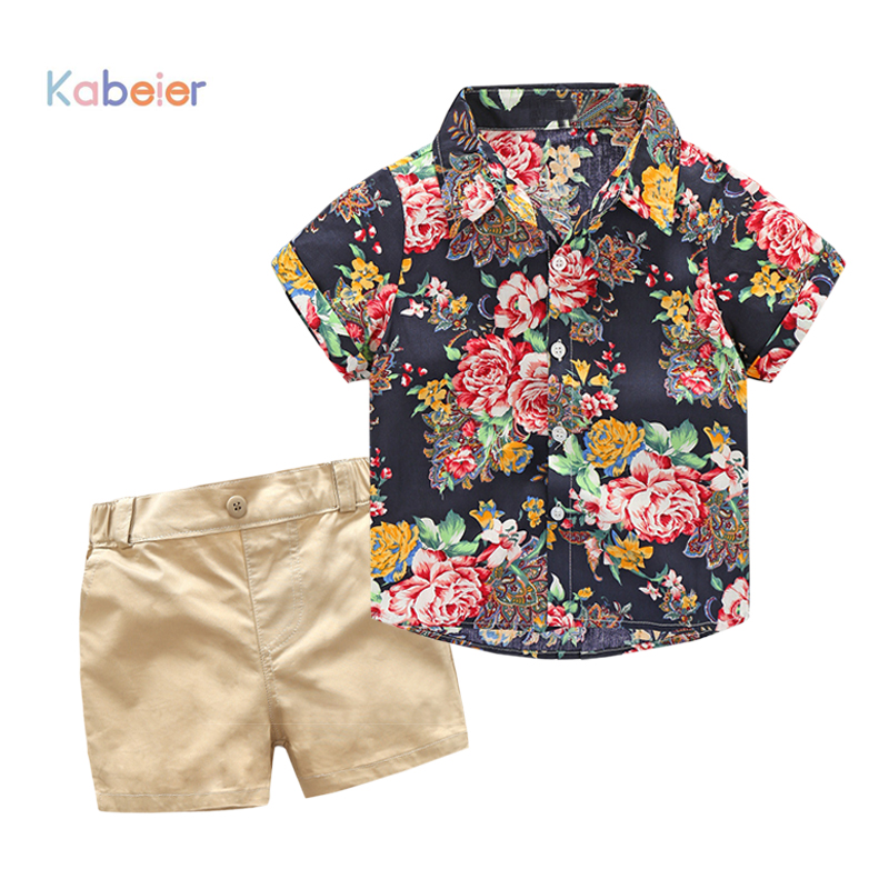 цена на Children Boy Clothes 2018 New Sets Kids 2pcs Short Sleeves T-Shirt Toddler Suits Print Shorts Child Clothing Suits Flowers shirt