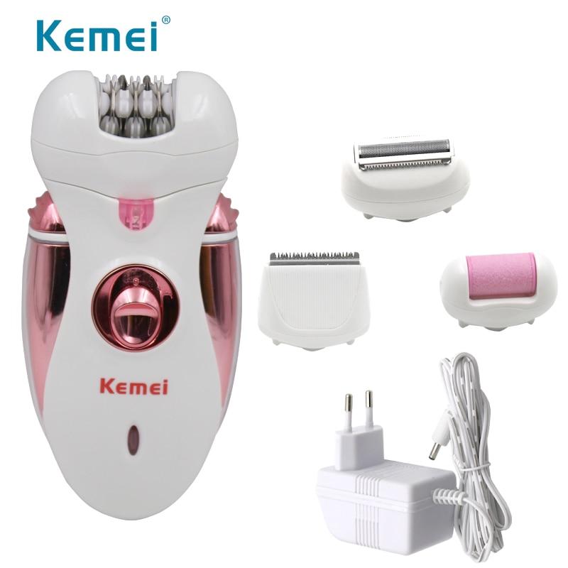 Kemei 2530 4 in 1 carica Elettrica dei capelli del rasoio Depilatore della signora rasoio Tagliatore di Capelli Strumento di Cura Del Piede per le donne EU spina