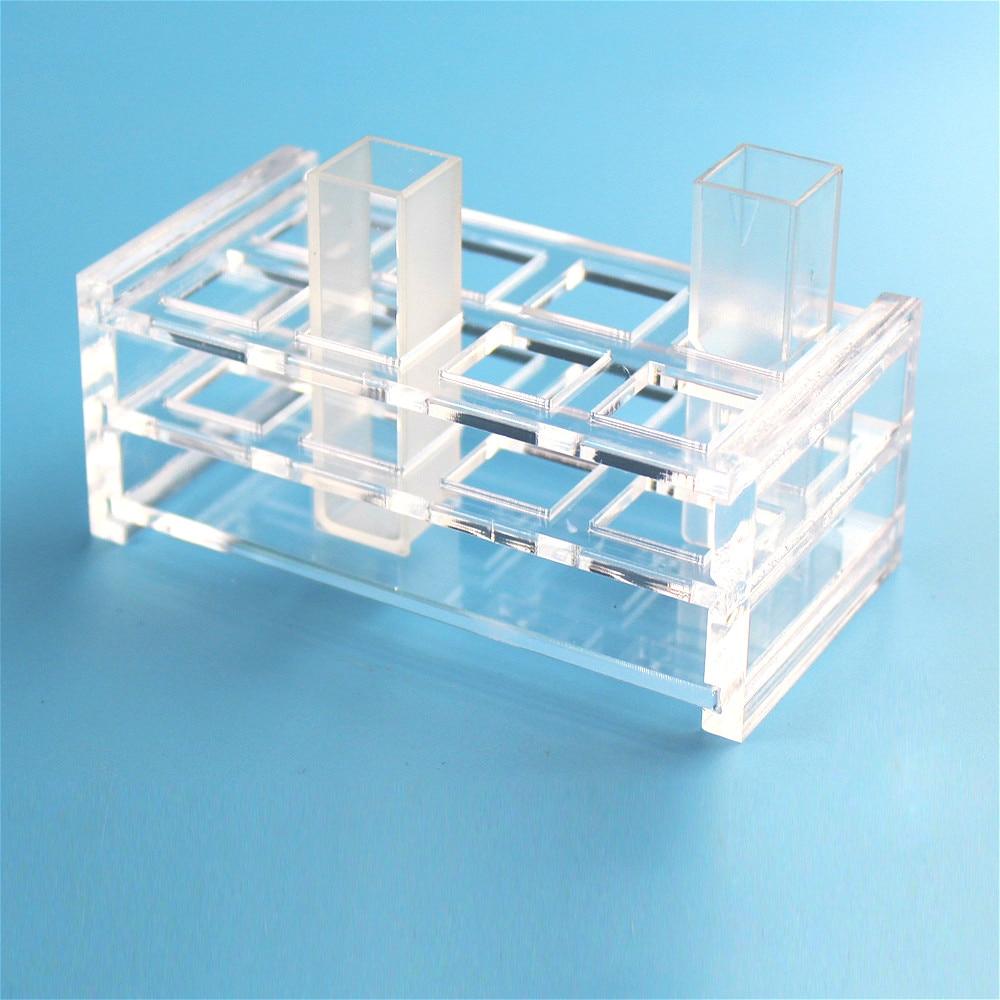 Pleksiglas Küvet Için Uygun Standı Cam Kuvars Küvet (sıvı örnek cep) Işık Yol 10mm, emme CellsSupport 8 Delik