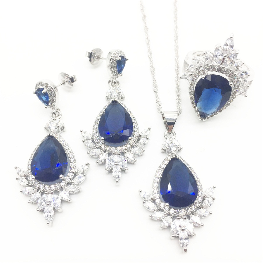 Industrious Montana Blue Zircon Costume Silver 925 Jewelry Sets Women Earrings With Stones Pendant&necklace Rings Set Jewelery Wide Varieties