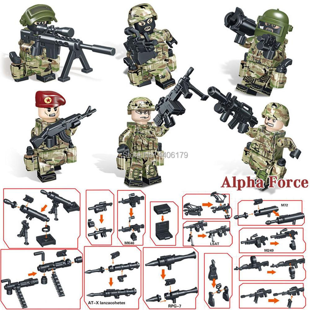 hot LegoINGlys military ww2 Russia Alpha Special Forces war Building Blocks mini weapons gun figure brick toys for children gift