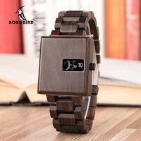 Bobo pássaro clássico relógio de pulso masculino relógio de pulso erkek kol saati quartzo relógios quadrados na caixa de madeira relogio masculino V R23|Relógios de quartzo| |  -