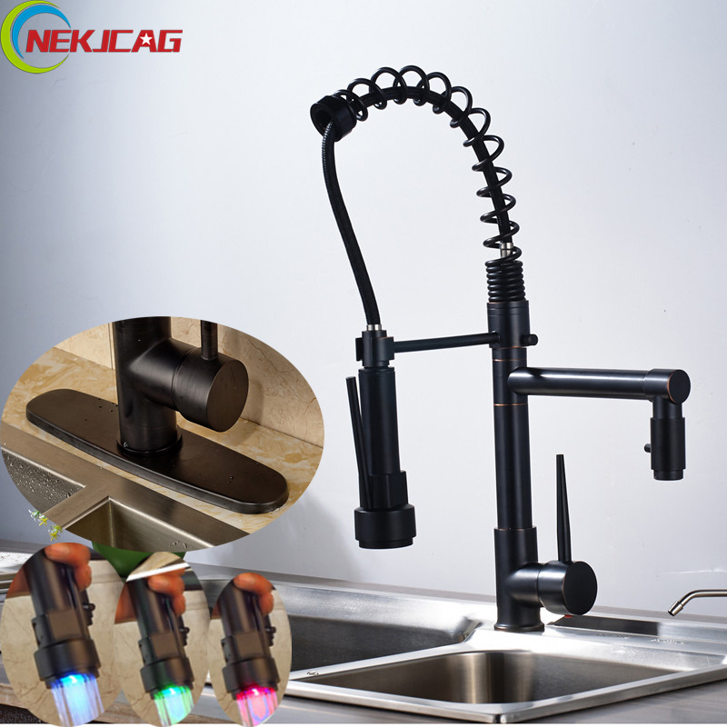 LED Rotation Kitchen Sink Faucet Single Handle Spring Pull Down Faucet Deck Mounted Sprayer Mixer Taps with Hold Cover Plate