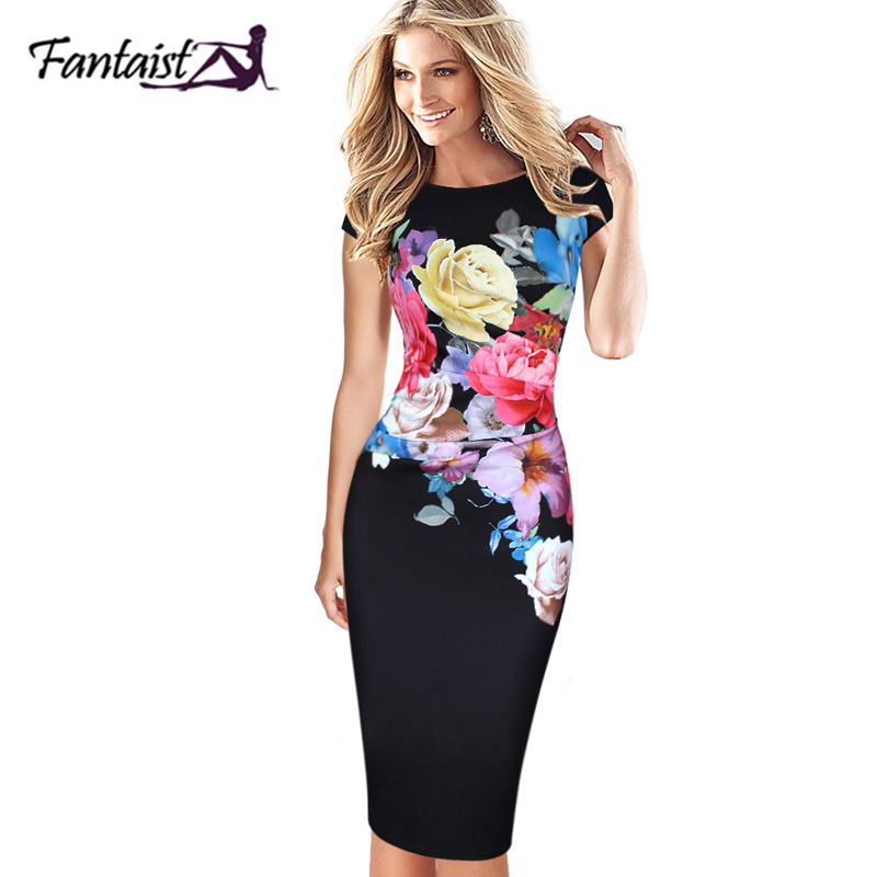 Fantaist Women Vintage Floral Print Ruched Fitted Stretch Slim Wiggle Bodycon Elegant Evening Party Casual Work Pencil Dress