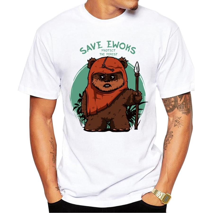 Pottis 2018 Újdonság Save Ewoks Design Férfi póló rövid ujjú - Férfi ruházat