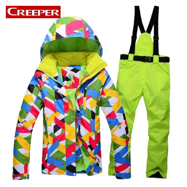 de79e215a0 Womens Color Printed Ski Suit Down Jacket Pants Winter Waterproof Mountain  Skiing Costume Outdoor Sports Snowboard Hooded Jacket