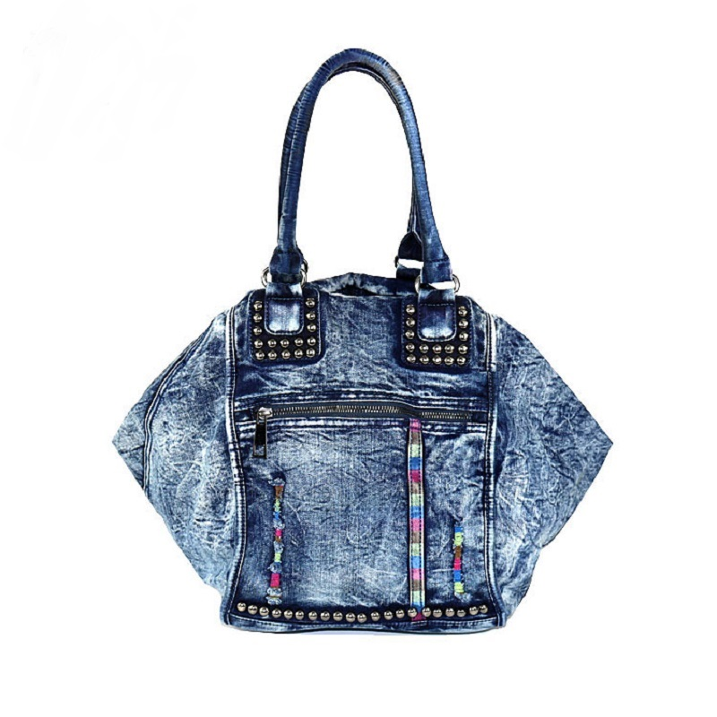 New Fashion Vintage Solid Zipper Jeans Rivet Trapeze Denim Cotton Women Lady s HandBags Totes Female