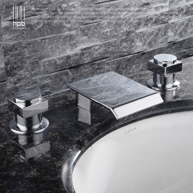HPB New Luxury Waterfall Widespread Sink Basin Mixer Hot and Cold Water Two handle Bathroom Faucet HP3204 chiaro бра chiaro версаче 254029501
