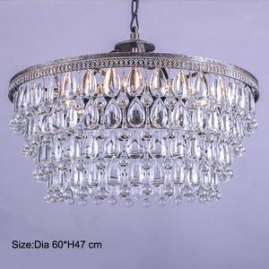 Image 4 - ヴィンテージビッグガラス滴 Led クリスタル鉄 Lustres シャンデリアペンダント現代 E14 ぶら下げランプリビングルームのベッドルーム