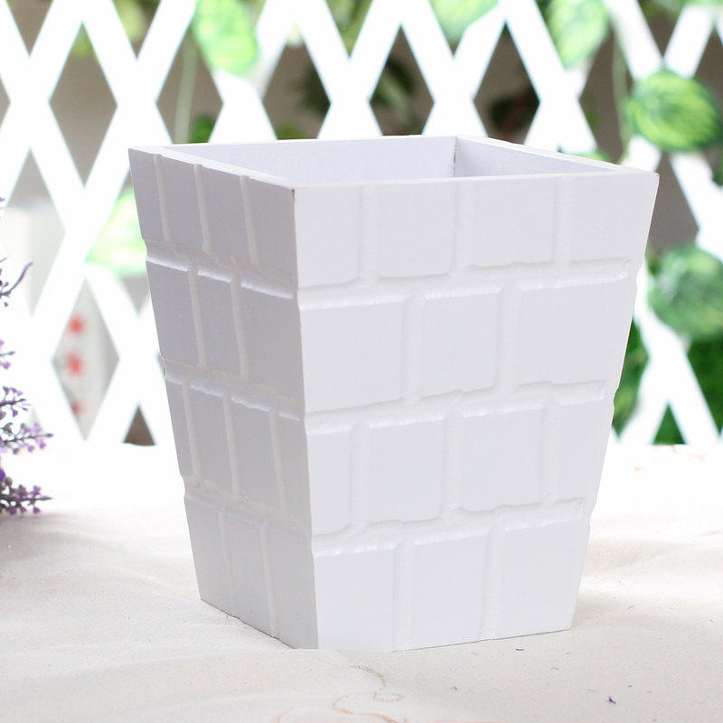 Parallel chord white plaid wood flower wool flower vase flower pot ...