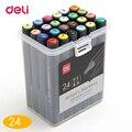 Deli 24 цвета набор художественных маркеров с двойной головкой квадратный эскиз художника маслянистые маркеры на спиртовой основе анимация м...