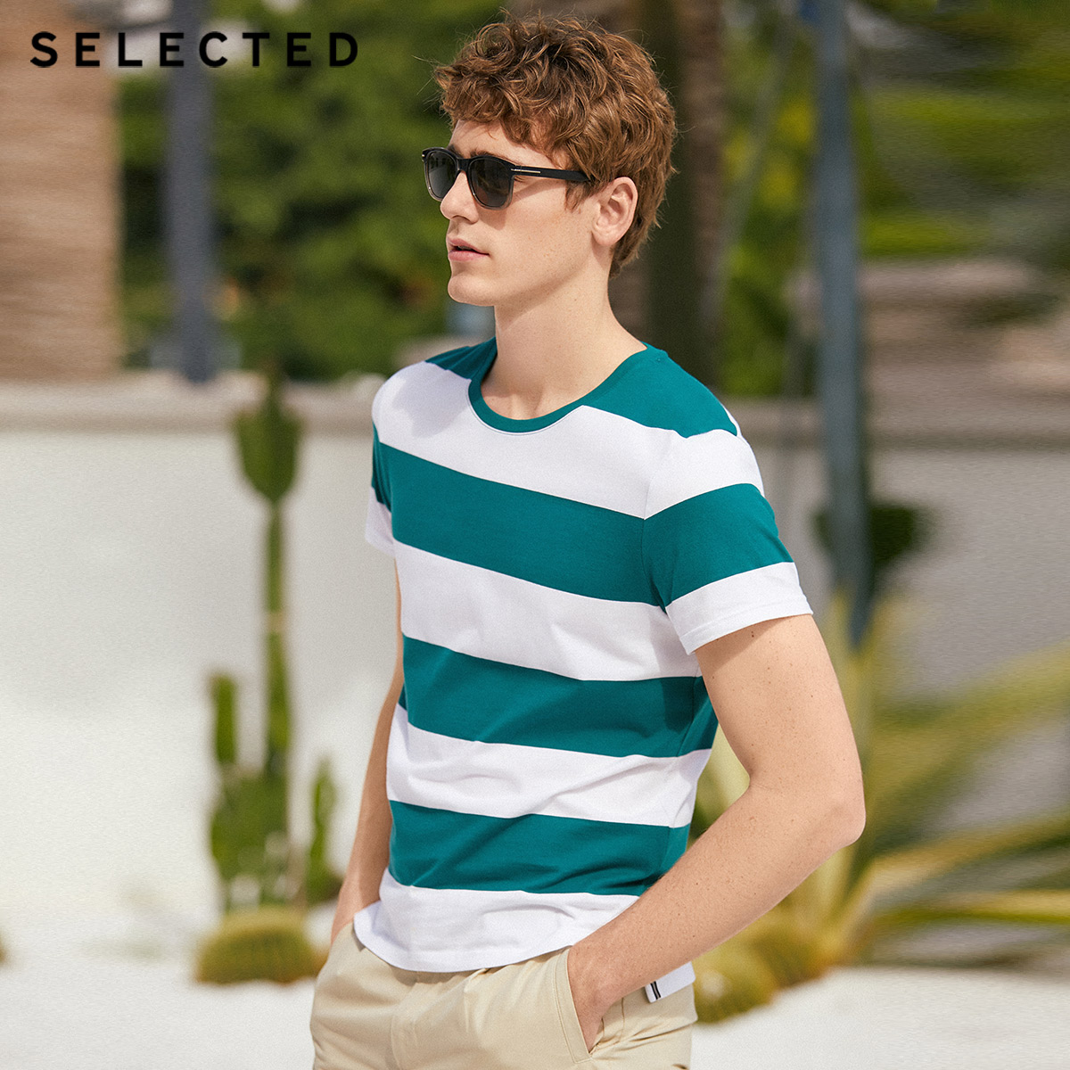 SELECTED Men's Summer 100% Cotton Round Neckline Striped Short-sleeved T-shirt S|419201597