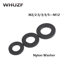 50pcs Nylon black washer M2 M2.5 M3 M4 M5 M6 M8 M10 black Plastic Nylon Washer Plated Flat Spacer Washer Gasket 50pcs m2 m2 5 m3 m4 black hex nylon standoff spacer column flat head double pass nylon plastic spacing screws
