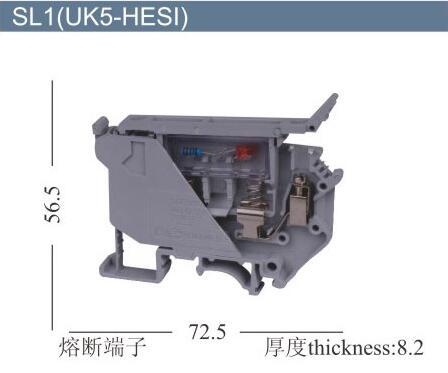 10PCS UK5 HESI UK5RD 4mm2 DIN Rail Screw Clamp Fuse Terminal Blocks Connector