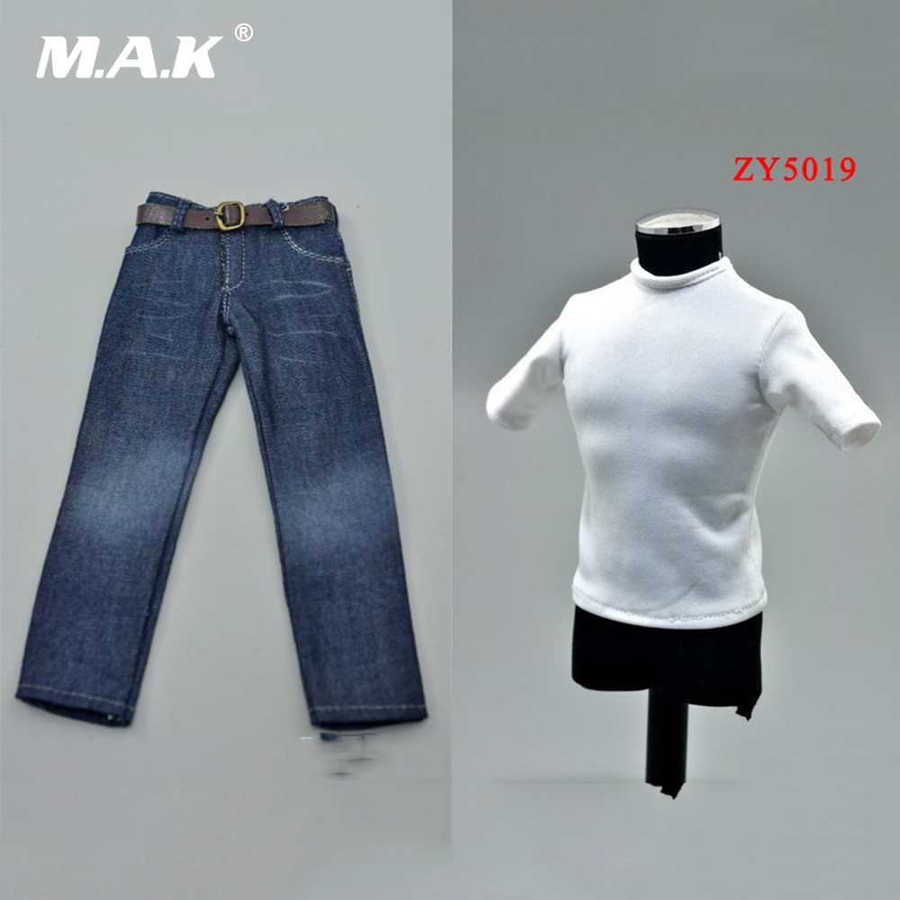 1/6 Scale Male Clothes Set White T-shirt Short Sleeve + Jeans Pants for 12 inches Man Action Figure Body ZY5019