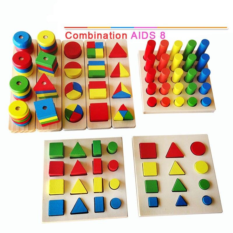 Livraison gratuite blocs de bois pour enfants, blocs de construction géométriques, aides pédagogiques Montessori, 8 ensembles, jouets éducatifs en bois
