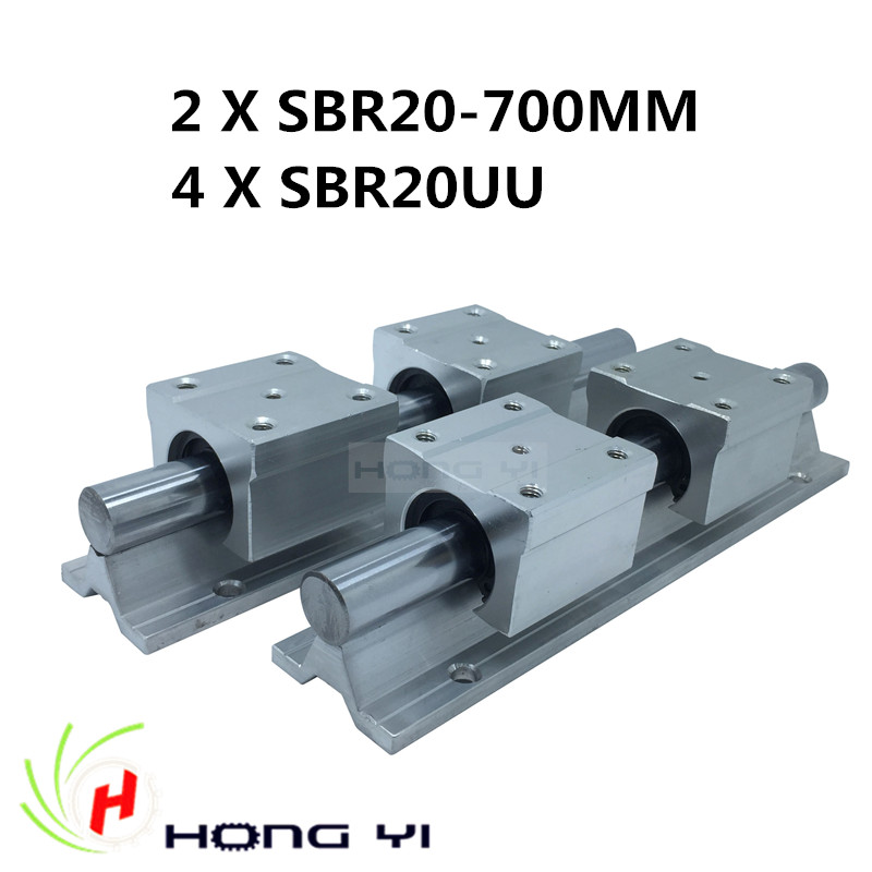 Free shipping 2pcs SBR20 Linear Guides -L 700mm linear rails shaft support + 4pcs SBR20UU linear blocks for CNC best price for 2pcs sbr20 l 1100mm linear rails slide support 4pcs sbr20uu bearing blocks