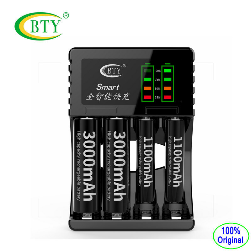 BTY-C704A3 Battery Charger Universel 4 Slots Intelligent Fast Led USB Charger for AA AAA Ni-MH Ni-Cd Rechargeable battery