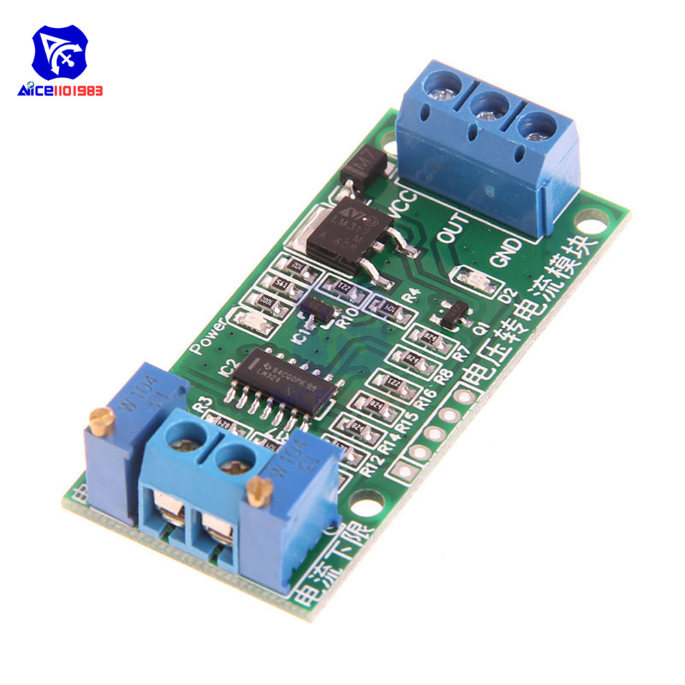 Linear Conversion Voltage To Current Transmitter Signal Module 0-5V To 4-20mA DC 12V-24V Potentiometer Adjustable Isolated Board