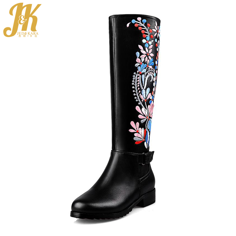 цена на 2018 Big Size 34-43 Genuine Leather Ethnic Knee Boots Add Fur Retro Thick Heels Embroidery High Quality Fall Winter Shoes Woman