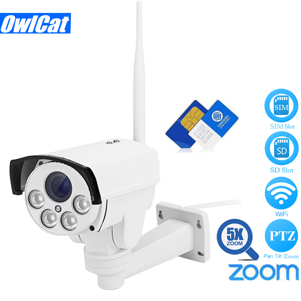 Owlcat 3516c+1/2.8 Sony323 1080p 960p Hd 4G Sim Card Bullet PTZ Ip Camera Wifi Outdoor 5x Zoom Auto Focus AP Motion CCTV Camera free 32gb sd card ptz cam 1080p 960p 3g 4g sim card camera wifi outdoor hd bullet camera wireless 5x zoom auto focus ip camera