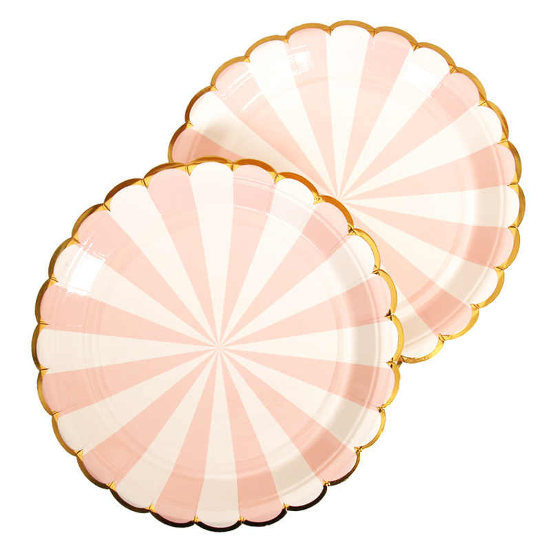10 pcs 7inch Gold Pink Striped Birthday Wedding Party Supplies Decoration Cake Dish Disposable Paper Plates Baby Shower Favors