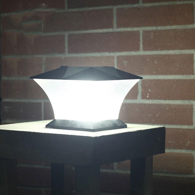 Solar Powered LED Pós Cap Convés Quadrado