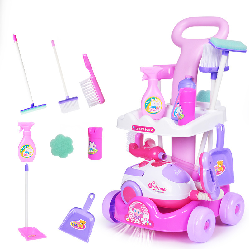 [Funny] kids simulation electronic sounding vacuum cleaner Broom mop car sets game tools Pretend play clean the room baby toy
