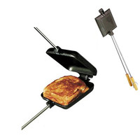 XMT-HOME cast iron sandwich bread pie iron pizza mold camping BBQ tool DIY baking mould non-coating 1pc