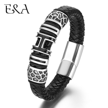 Genuine Braided Leather Bracelet for Men 316L Stainless Steel Magnetic Clasp H Charms Woven Bracelets Trendy Male Bangle Jewelry obsede fashion genuine leather bracelet for men jewelry stainless steel bangle magnetic clasp black braided rope chain male gift
