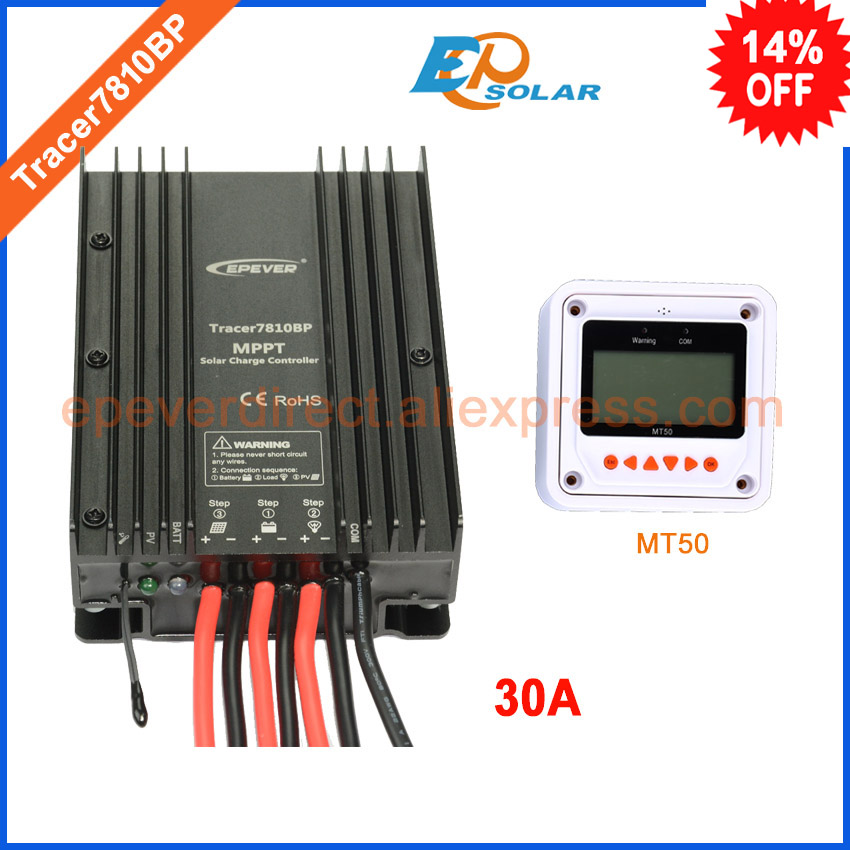 MPPT EPsolar Tracer7810BP 30A 30amp with MT50 remote meter solar tracking controller 12v 24v auto work EPEVER supply tracer mppt 30a solar charge controller lcd12 24v solar panel solar regulator epsolar gel battery option with remote meter mt50