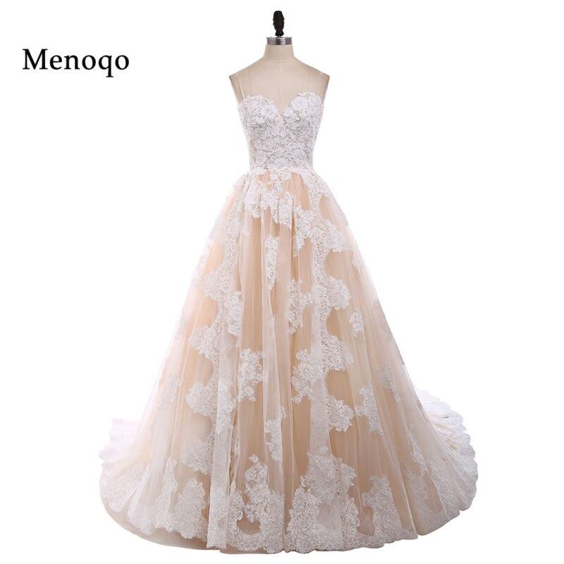 Menoqo Nouvelle Arrivée Sexy robe de Bal Dentelle Robe De Mariée 2018 Romantique Robe De Mariage Robe De Noiva Chérie Robes de Mariée