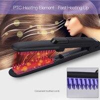 CkeyiN Electric Ceramic Steam Spray Hair Straightener Brush Hair Straightening Comb Temperature Adjustable Hair Flat Iron