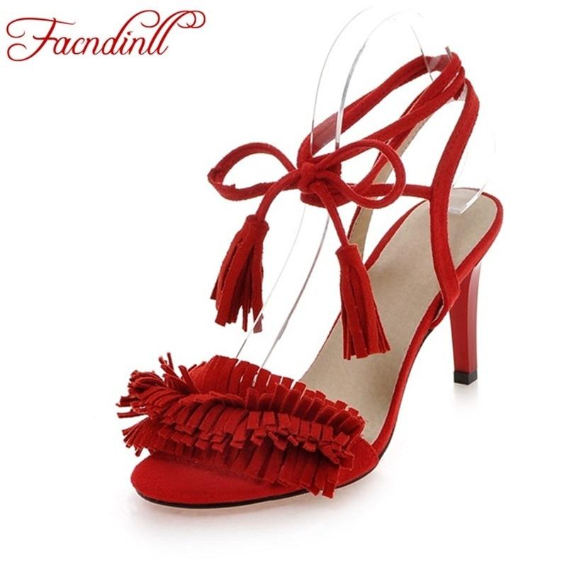 FACNDINLL New fashion tassel high heels band summer sandals woman dress wedding shoes fashion sandals sexy lady summer shoes