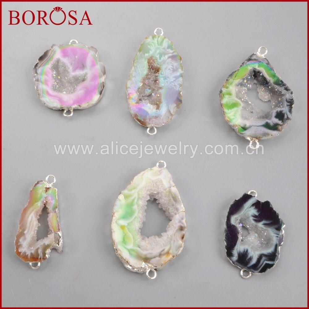 BOROSA 10Pcs New Arrival Drusy Silver Color Titanium AB Agates Druzy Slice Connectors Mixed Colors Gems