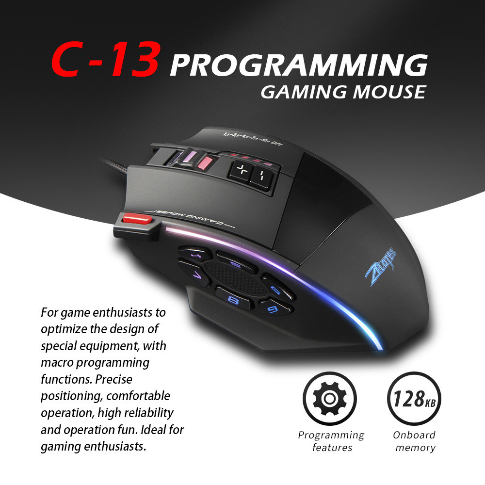 Zelotes C13 Gaming Mouse 7000 DPI 13 Programmable Buttons RGB LED Light Mice
