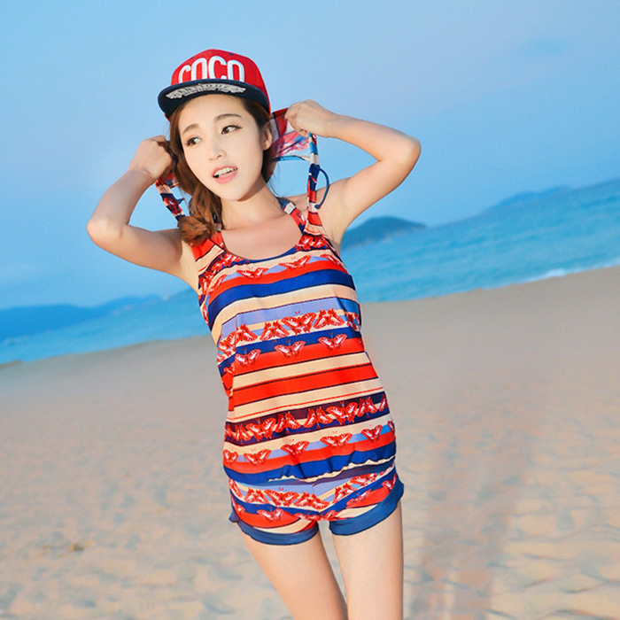 2017 new swimsuit lady bikini four-piece steel tray small chest gather cover belly swimwear Korean version swimsuit women bikini swimsuit women gather small chest big chest steel prop sexy blouse beach lovers swimsuit cover the belly